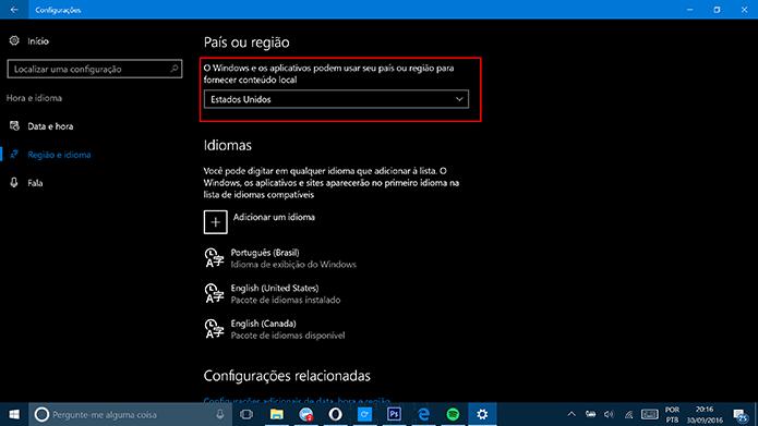 Mude a região do Windows 10 para Estados Unidos para usar funções da Cortana (Foto: Reprodução/Elson de Souza)