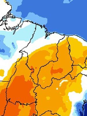 Pontos em laranja têm condições de baixa umidade do ar (Foto: Reprodução/CPTEC/Inpe)