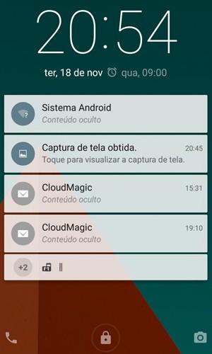 Tela de bloqueio do Lollipop mostra notificações do Android; é possível esconder o conteúdo dos avisos (Foto: Reprodução)