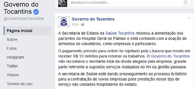 Governo pediu doações em rede social (Foto: Reprodução)