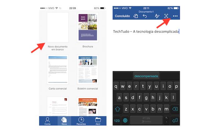 Acessando as configurações de um documento criado no Word para iOS (Foto: Reprodução/Marvin Costa)