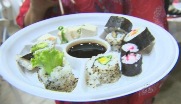 Variedade de sushis foram servidos durante o evento (Foto: Bom Dia Amazônia)