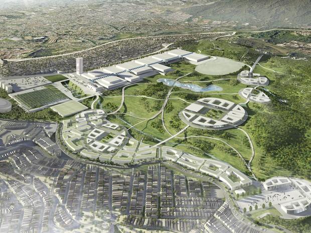 Projeto exibe vista aérea do centro de exposições que deverá ser  construído em Pirituba (Foto: Divulgação/Prefeitura de SP)