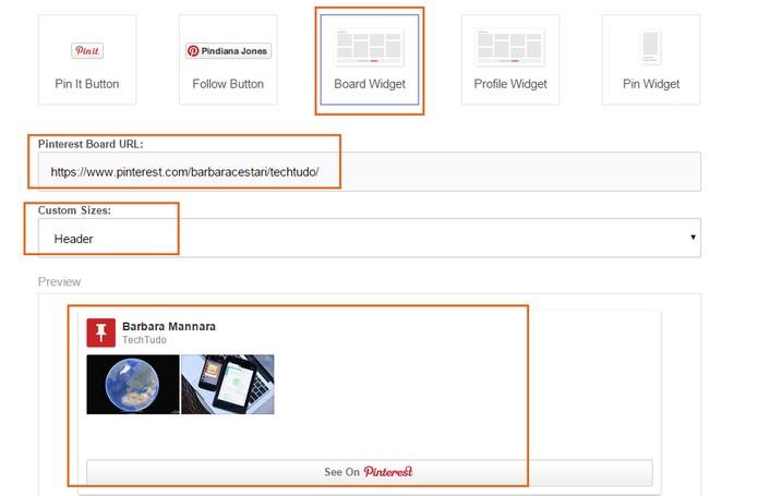 Copie o link na área indicada da ferramenta no Pinterest (Foto: Reprodução/Barbara Mannara)