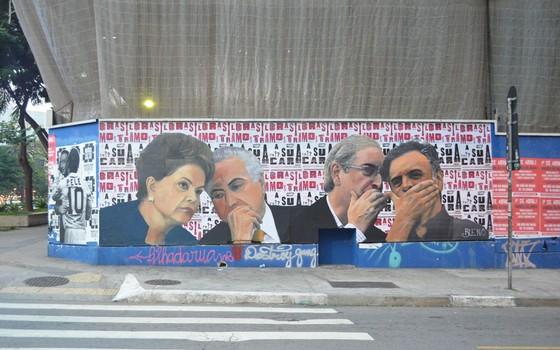 Obra realizada por Luis Bueno mostra a conexão entre importantes atores políticos no cenário político brasileiro (Foto: Luis Bueno/Divulgação)