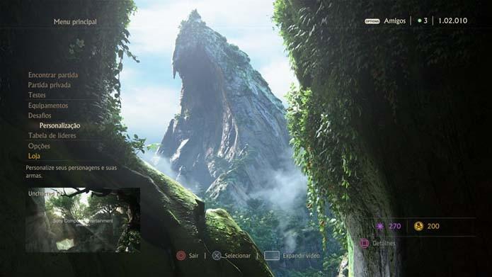 Escolha Personalização no menu de Uncharted 4 (Foto: Reprodução/Murilo Molina)