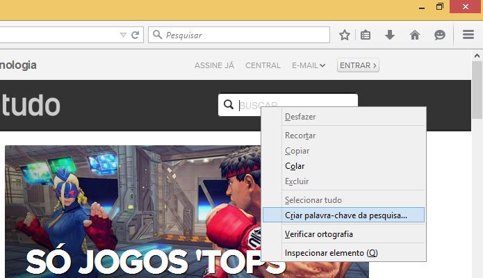 Criando um atalho de busca em sites específicos (Foto: Reprodução/Helito Bijora)