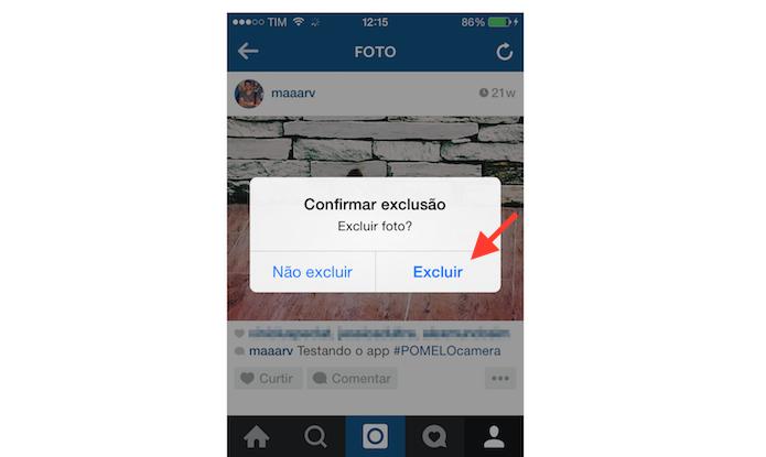 Confirmando a exclusão de uma foto do Instagram através de um iPhone (Foto: Reprodução/Marvin Costa)