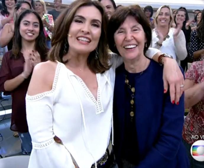 Fátima Bernardes e sua mãe Dona Eunice (Foto: TV Globo)