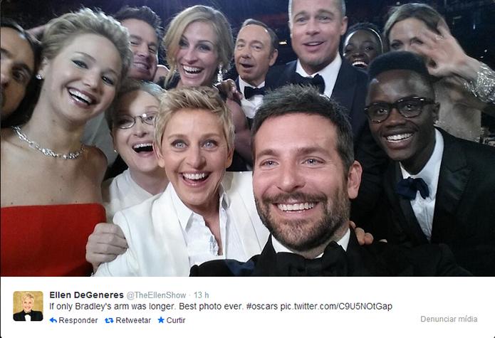 Selfie cheia de estrelas de cinema é a mais retuitada da história (Foto: Reprodução/Twitter)