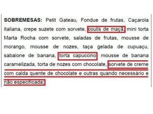 Pratos (Foto: Reprodução/Diário Oficial do Estado)