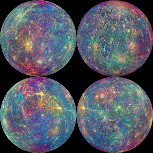 Combinação de imagens mostra as leituras da atmosfera de Mercúrio feitas por instrumento à bordo da sonda Messenger  (Foto: NASA, Johns Hopkins University Applied Physics Laboratory, Carnegie Institution of Washington via AP)