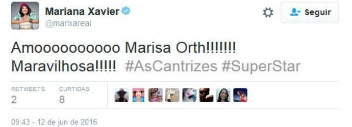 A atriz Mariana Xavier elogiou Marisa Orth (Foto: Reprodução/internet)