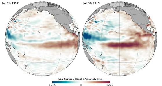 Mapas da Nasa mostram o El Niño de 1997 (esq.) e de 2015 (dir.). Quanto mais vermelho, mais quente a superfície do Oceano Pacífico. Os dois episódios mostram semelhanças no padrão do fenômeno (Foto: Nasa)