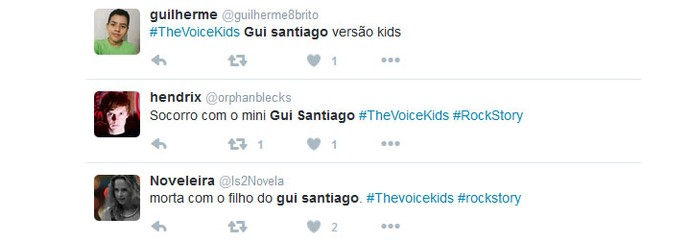 Internautas comparam participante do The Voice Kids a Gui Santiago, de Rock Story (Foto: reprodução Twitter)