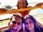 Na praia, Grazi Massafera e Henri Castelli gravam novela