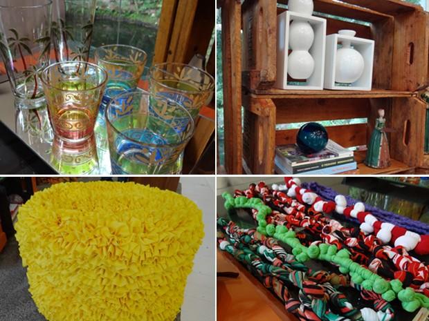 Copos pintados, caixotes, pufe de pneus e 'frufrus': veja como decorar sua casa sem gastar muito (Foto: Mais Você / TV Globo)