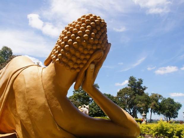 Dezenas de estátuas estrategicamente posicionadas enfeitam os jardins do Templo Budista em Foz do Iguaçu (PR) (Foto: Fabiula Wurmeister / G1)