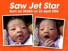 Mãe põe nome de empresa aérea em bebê que nasceu em voo da Jetstar