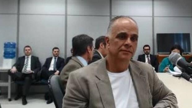 Marcos Valério presta depoimento ao juiz Sérgio Moro em Curitiba (Foto: Reprodução/YouTube)