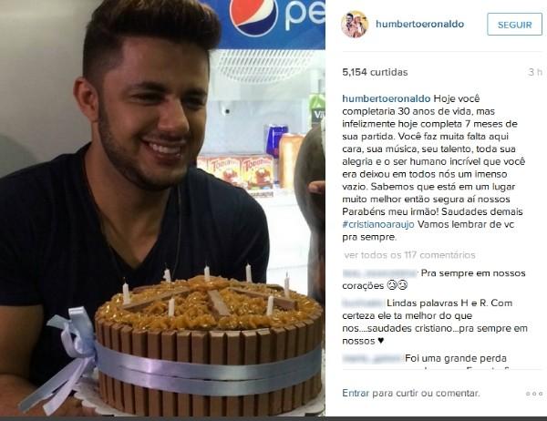 Humberto e Ronaldo fizeram homenagem ao cantor no perfil da dupla (Foto: Reprodução/Instagram)