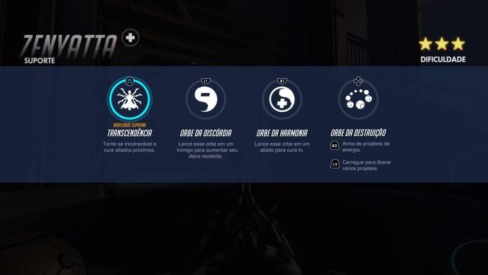As habilidades de Zenyatta em Overwatch (Foto: Reprodução/Felipe Vinha)
