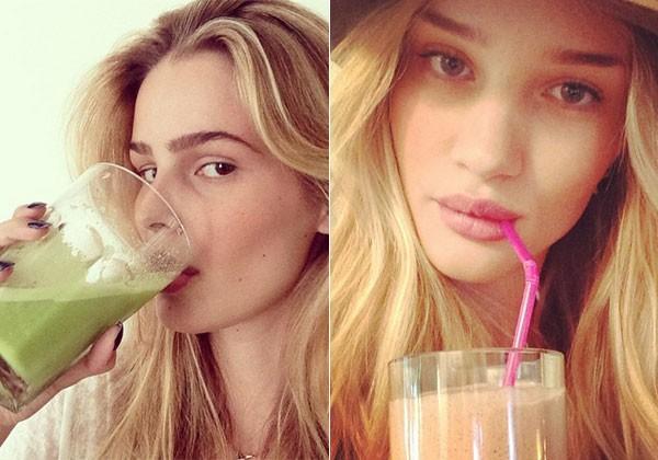 As modelos Yasmin Brunet e Rose Huntington-Whiteley são adptas do sucos (Foto: REPRODUÇÃO/INSTAGRAM)