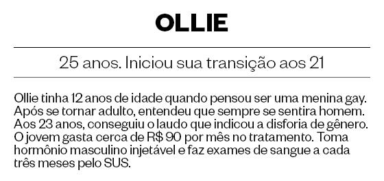 OLLIE, 25 anos. Iniciou sua transição aos 21 (Foto: Daryan Dornelles/ÉPOCA)