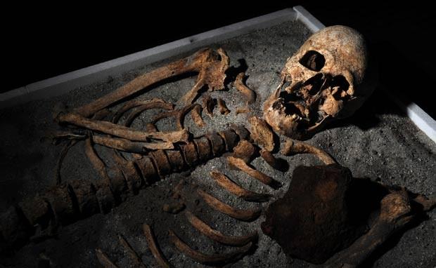 Esqueleto está em exposição em museu em Sófia.  (Foto: Nikolay Doychinov/AFP)