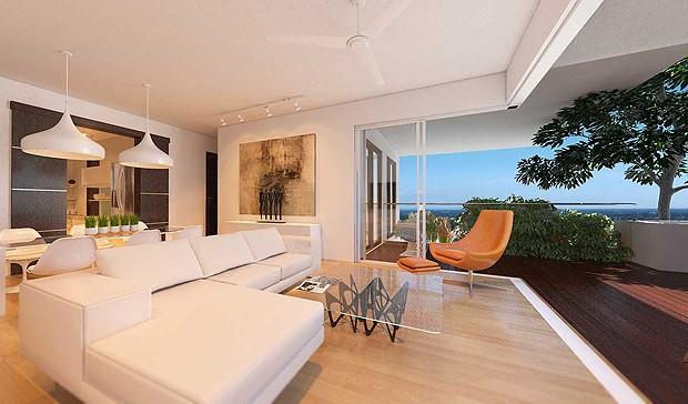 Interior de um apartamento. Repare na granda varanda (Foto: Divulgação)
