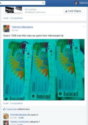 ingressos honduras x suíça internet (Foto: Reprodução/Facebook)