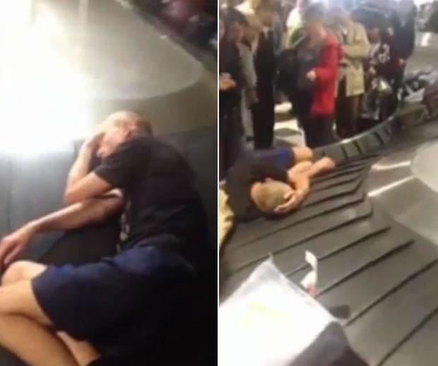 Apesar do barulho, homem parecia dormir em sono profundo (Foto: Reprodução/YouTube/WorldViral)
