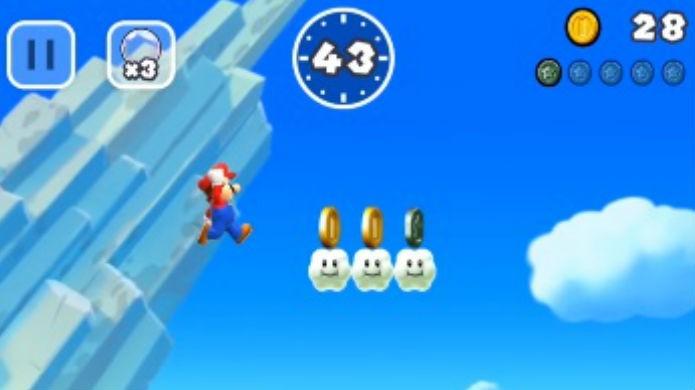 Super Mario Run: procure as moedas coloridos em pontos altos do mapa (Foto: Reprodução / Thomas Schulze)