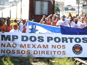 Greve no porto de Santos (Foto: Carlos Nogueira / A Tribuna de Santos)