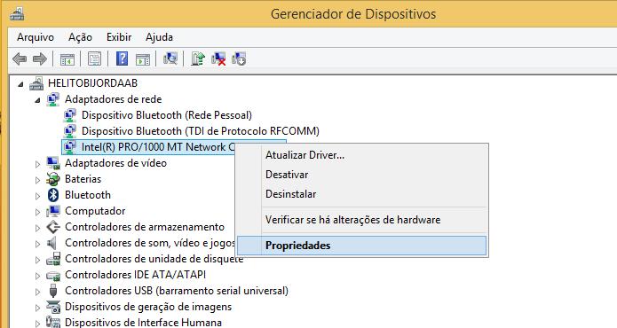 Acesse as propriedades do adaptador de rede (Foto: Reprodução/Helito Bijora)