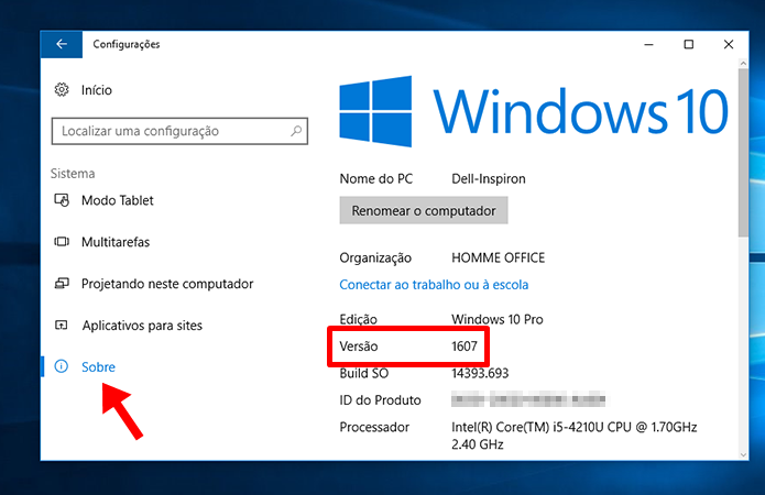 Verifique a versão do seu Windows 10 (Foto: Reprodução/Paulo Alves)