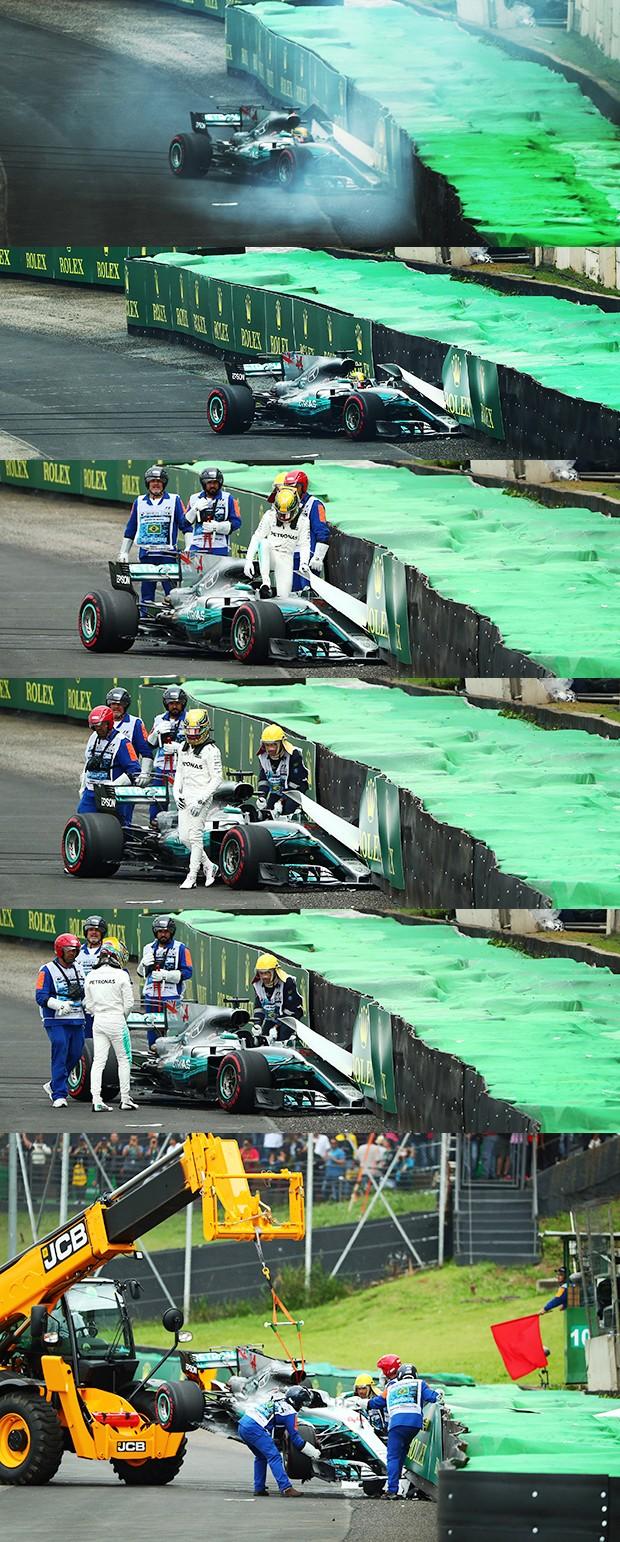 Lewis Hamilton com a Mercedes AMG F1 W08 bateu contra as barreiras de pneus no Laranjinha durante sua primeira corrida no Q3 (Foto: Luca Bassani)