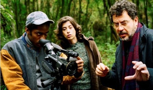 Lázaro Ramos, Fernanda Torres e Jorge Furtado durante as gravações (Foto: Divulgação)