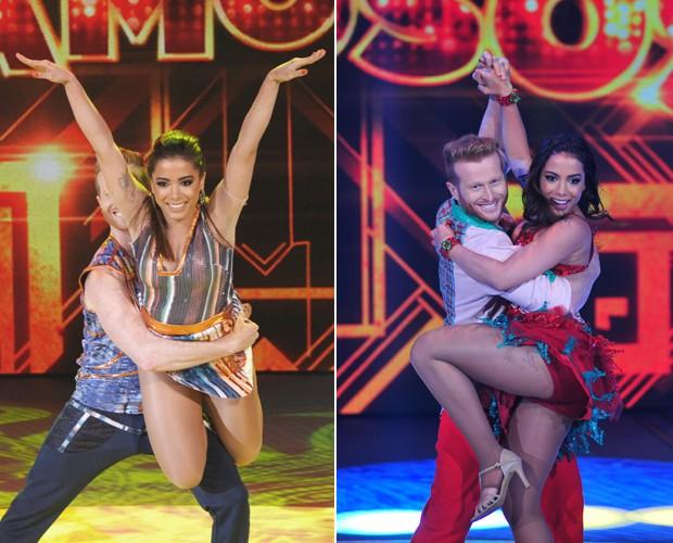 Anitta e o professor Magno em dois momentos do Dança dos Famosos: baladão e forró (Foto: TV Globo/Reinaldo Marques/ Arthur Seixas)