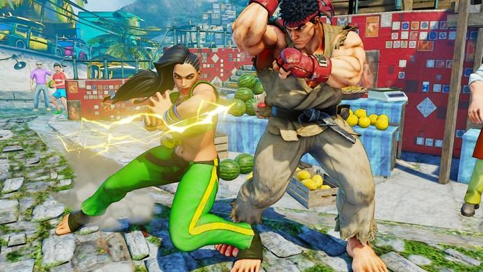 Street Fighter 5: Laura desfere seu Bolt Charge médio, umas das suas principais ferramentas de combos (Divulgação/Capcom)