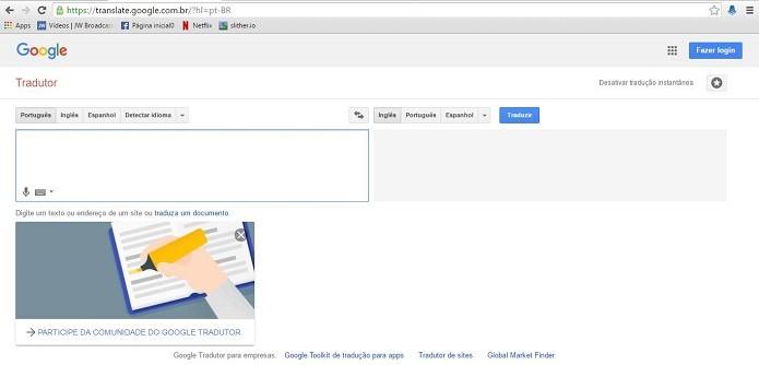 Acessando o Google Tradutor (Foto: Felipe Alencar/TechTudo)