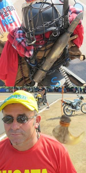 """Detalhes da """"moto de sucata"""" (Foto: Rafael Miotto/G1)"""
