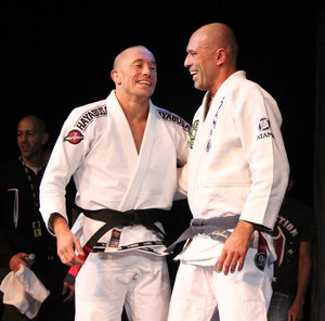 Georges St-Pierre e Royce Gracie treino UFC 167 (Foto: Evelyn Rodrigues)