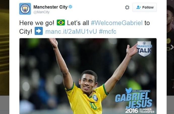 Manchester City anuncia contratação de Gabriel Jesus (Foto: reprodução / Twitter)