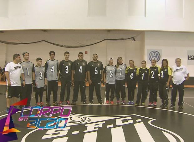 Time de GoalBall com atletas da Seleção Brasileira (Foto: Reprodução/TV Tribuna)