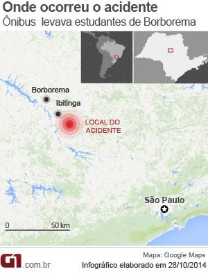 Acidente foi na SP-304, em Borborema (Foto: Editoria de Arte/G1)