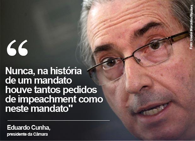 Eduardo Cunha diz que nunca um mandato recebeu tantos pedidos para abertura de processo de impeachment (Foto: Ueslei Marcelino/Reuters)