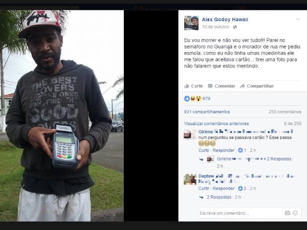 Postagem sobre morador de rua foi feita em rede social (Foto: Reprodução/Facebook)