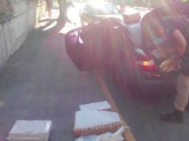 Polícia apreendeu cerca de 300 kg de maconha em rodovia (Foto: Reprodução/TV Tribuna)