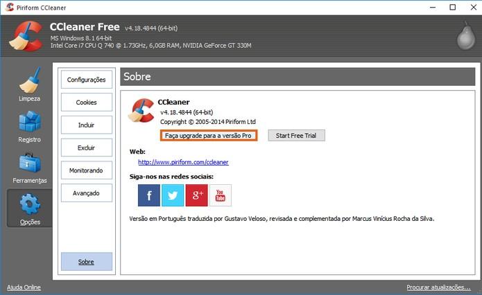 CCleaner oferece versão Professional do programa e permite adicionar ferramentas (Foto: Reprodução/Barbara Mannara)
